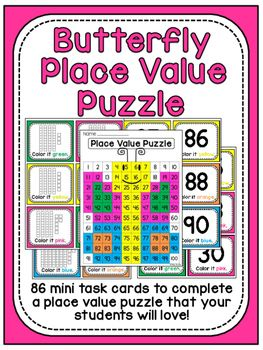 Place value butterfly puzzle math station where students use 86 mini task cards to identify and color numbers on a 100 chart that are represented by base 10 blocks. A fantastic way to get students to practice identifying the base 10 representation of dozens of numbers in one sitting in a fun way!