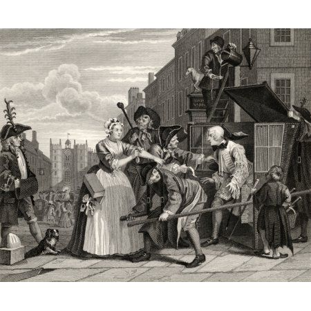 The Rakes Progress Arrested For Debt As Going To Court From The Original Picture By Hogarth From The Works Of Hogarth Published London 1833 Canvas Art - Ken Welsh Design Pics (16 x 13)