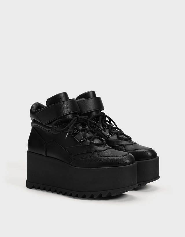 Monochrome Platform Trainers Shoes Bershka United Kingdom Jordan Shoes Girls Boots Outfit Ankle Velvet Boots