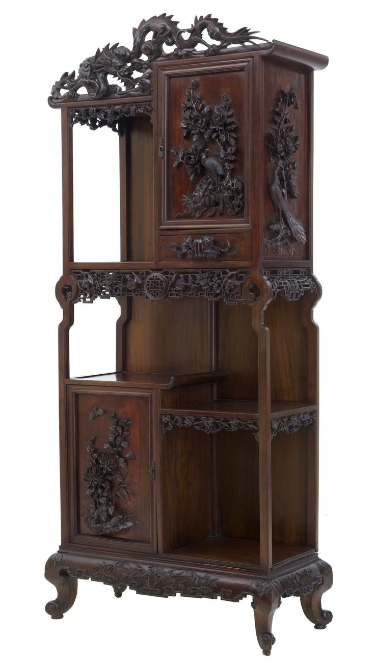 19th century carved oriental hardwood chinese display for Oriental furniture australia