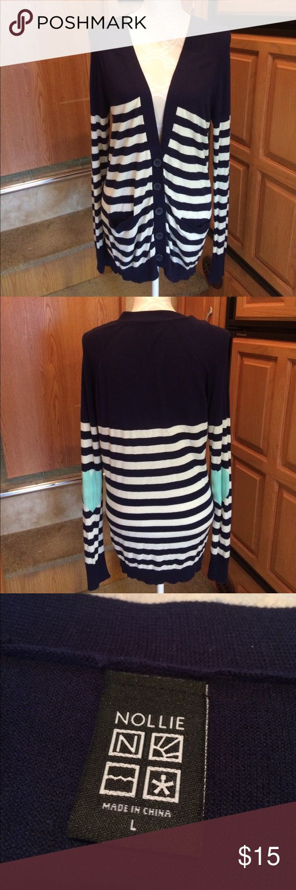 Nollie Striped Cardigan w/hearts on elbow L Shows signs of wear such as pilling and stretch/sag on hem. I do NOT trade or hold items. Nollie Sweaters Cardigans
