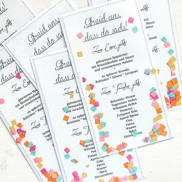 Tischkarten für unsere Gartenparty morgen... ausgedruckt und in Sichthüllen mit Confetti genäht! #soweissajederwasesgibt #gartenparty #confetti #dearlizzy #scrapbookwerkstatt #aufguadbayrisch