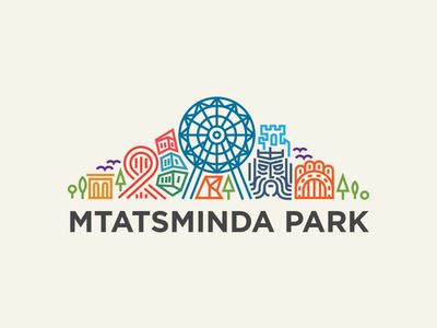 This colorful logo clearly shows that it's an amusement park, and is extends to the length of the park name below it.