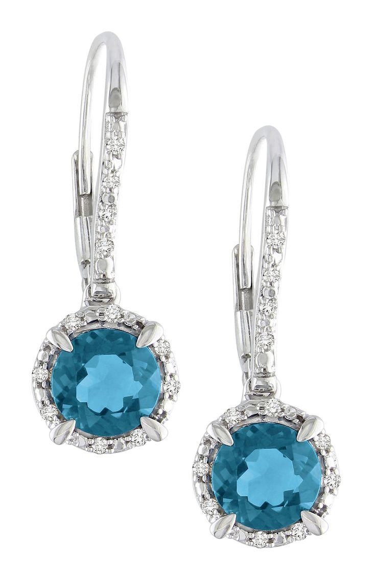 10K White Gold London Blue Topaz Diamond Drop Earrings