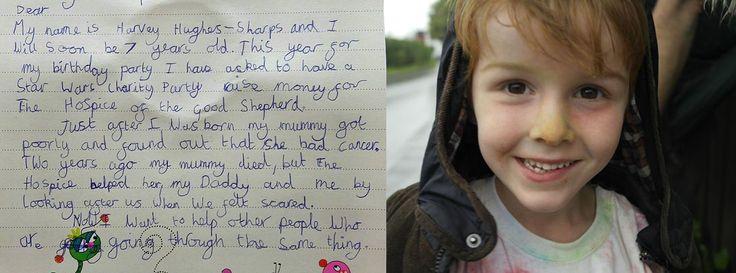 Harvey (7 jaar) wilde géén cadeautjes voor zijn verjaardag, maar vroeg familie en vrienden om geld te doneren aan het hospice dat voor zijn moeder zorgde tijdens haar laatste dagen: https://www.wietroostmij.nl/blog/harvey-7-jaar-doneert-verjaardagsgeld-aan-hospice