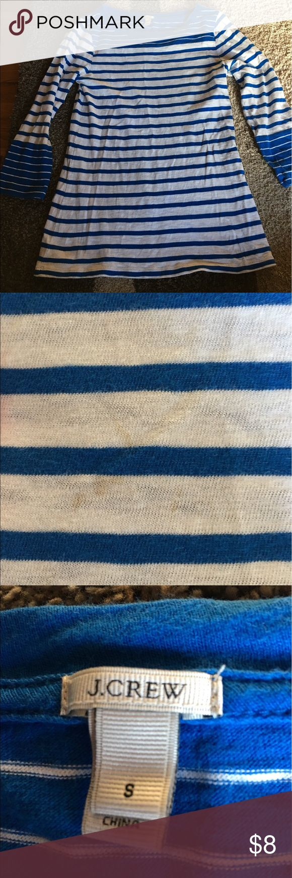 Jcrew size small women's blue and white shirt Jcrew size women's small blue and white striped three quarter length top. Small unnoticeable stain on front (see picture). Washed never dried J. Crew Tops Tees - Long Sleeve