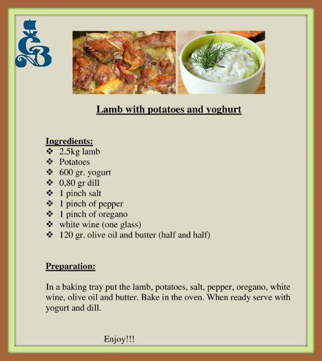 Here's an original Greek recipe from Crete! Lamb with potatoes and yogurt!