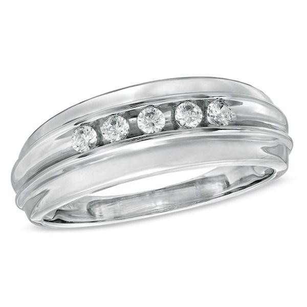 Men S 1 4 Ct T W Diamond Five Stone Wedding Band In 10k White