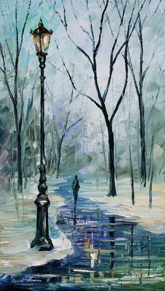 """Icy Path — PALETTE KNIFE Contemporary Landscape Fine Art Oil Painting On Canvas By Leonid Afremov - Size: 15"""" x 25"""""""