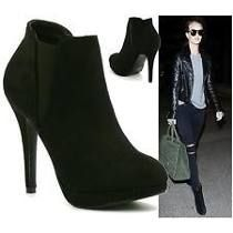 Zapatos Clarks Original Dama Tacón Plataforma Negro Gamuzado