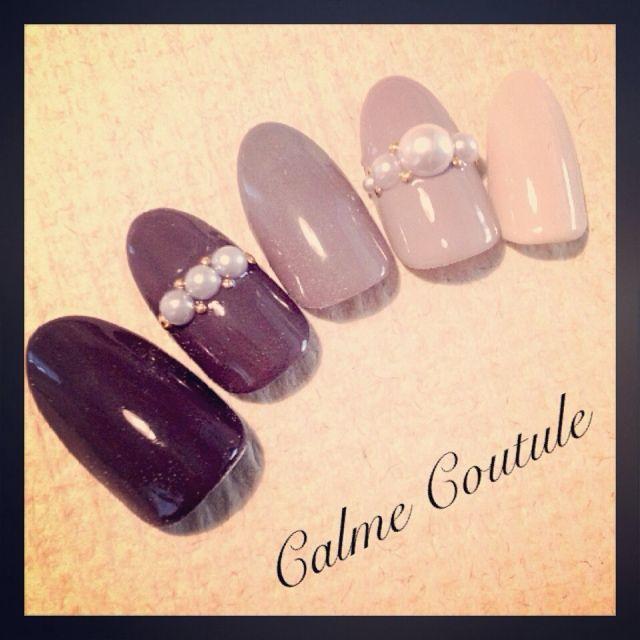 #nail #beta #gradation #studs #fall #winter #cute #gray #beige