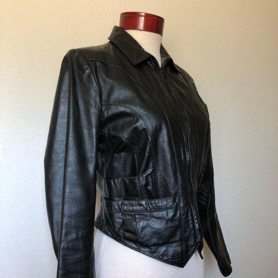 Vintage Black Leather Jacket Cropped 80s 1980s Goth Witchy Leather Jacket Vintage Black 90s Fashion Grunge