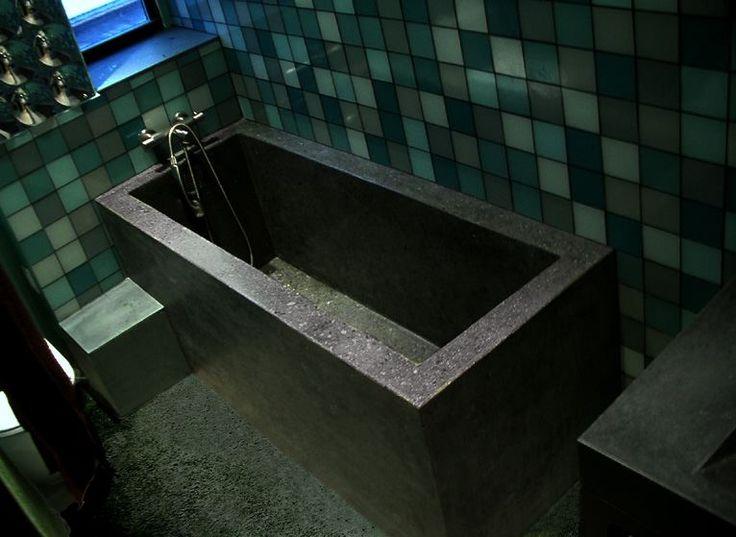 1000 images about concrete bathtubs on pinterest bath for Polished concrete floor bathroom