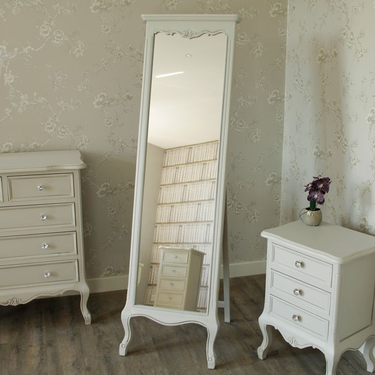 Elise Grey Range- Floor Standing Cheval Mirror Ornate distressed grey painted Cheval mirror Designed with a beautifully carved body and curved legs to the front Finished with unique look Made from a combination of beech and birch wood