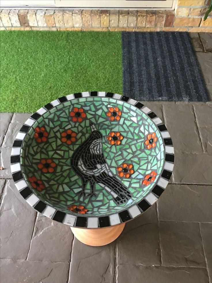 Magpie mosaic birdbath - for sale.