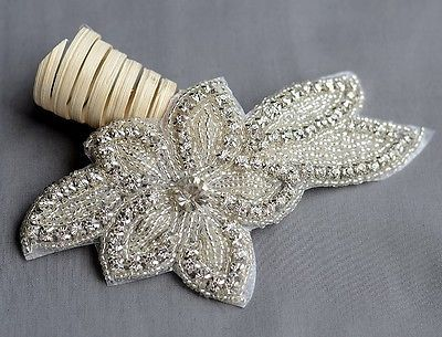 Strass Apliques Bridal Cristal Adorno De Perlas Boda Cinturón De Diadema Diy -1
