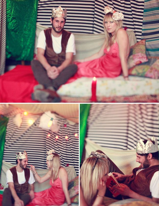Engagement pictures in a homemade fort. This reminds me of The Royal Tennenbaums. I love it.