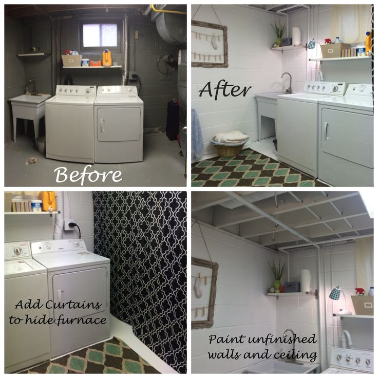 Laundry room makeover on a budget. Before and after.  Painted the whole thing white (ceiling, pipes, walls, floor), curtains to hide the furnace, a rug, a light and a few accents.  ahhhhhh so much better.  Now I don't feel like I'm doing laundry in a cave.