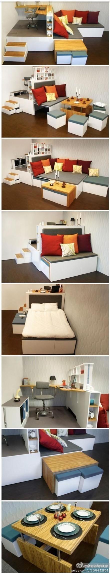 Компактная комнатка - интересное дизайнерское решение