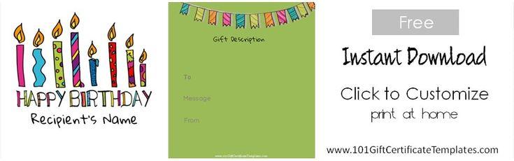 Birthday Gift Certificate Templates