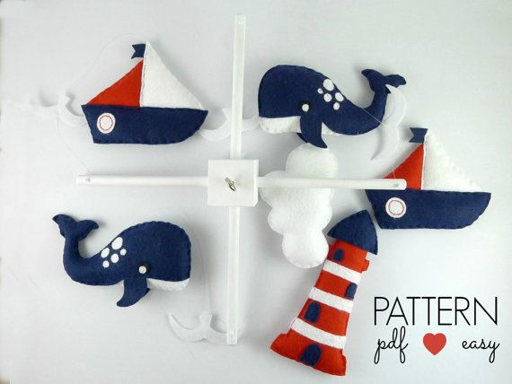 Easter Sale! Receive a HUGE 40% OFF all Maisie Moo Patterns - discount has been applied to price shown. Happy Creating!  Nautical Baby Mobile Pattern - Includes Whale, Sailboat, Lighthouse, Cloud, Seagull plus bonus Lifebuoy and Anchor Pattern.  Create your own Nautical Baby Mobile using my easy to follow, simple step by step instructions and patterns. Use for baby mobile or ornaments, favors, toppers what ever you want!  These felt creations are stitched entirely by hand. Its easy using my…