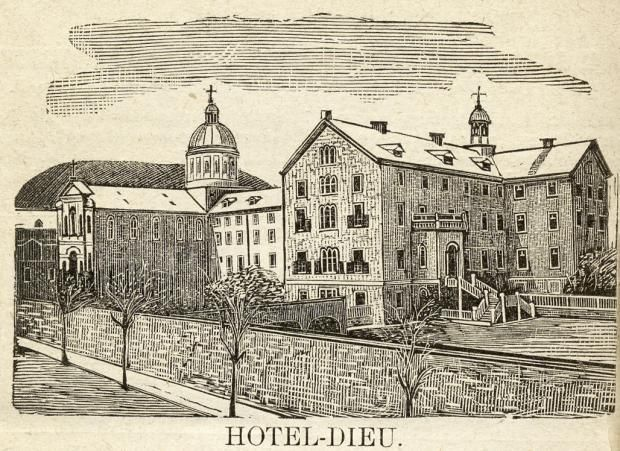 A sketch of Hôtel-Dieu de Montréal (by H. Giroux, date unknown). Founded by Jeanne Mance (co-founder of Montreal) in 1642, the hospital is still in use today, making it the oldest hospital in Canada. #cdnhistory #newfrance