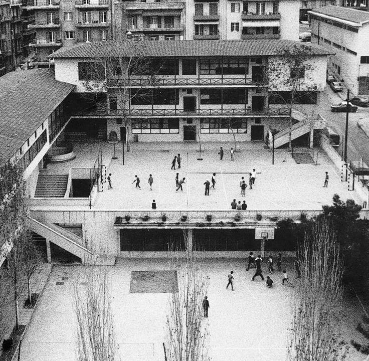 Πειραματικό σχολείο ΑΠΘ - Πικιώνης (1937). Πανοραμική άποψη του σχολείου και της αυλής