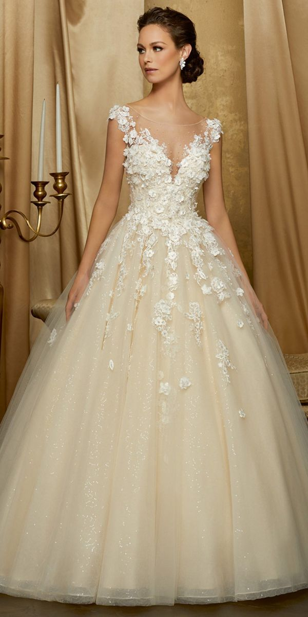 [234.00] Stunning Tulle & Sequin Tulle Scoop Neckline A-line Wedding Dress With Lace Appliques & 3D Flowers & Beadings