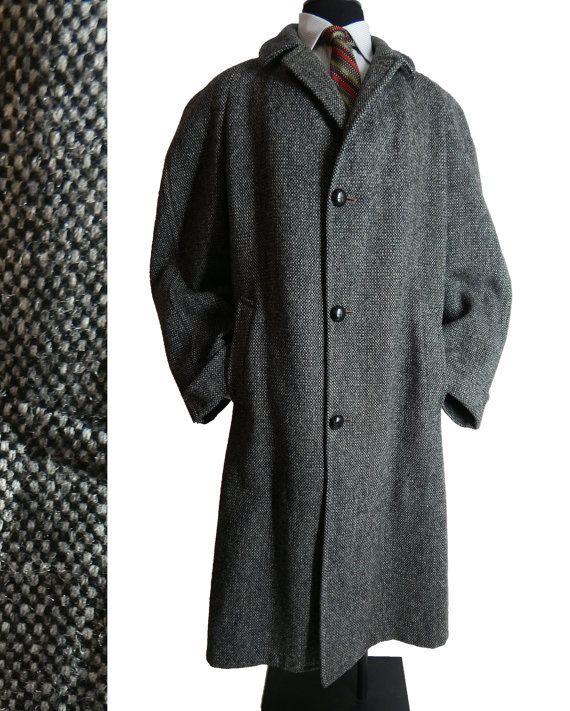 Mens Vintage 1950s Harris Tweed Overcoat Wool Tweed Coat