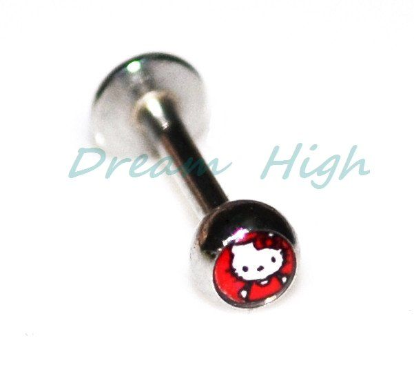 New Arrival Hello Kitty Lip bar Labret Stud Lovely Cat Body Piercing Jewelry 316L stainless steel Cute 16G free Shipping US $16.99
