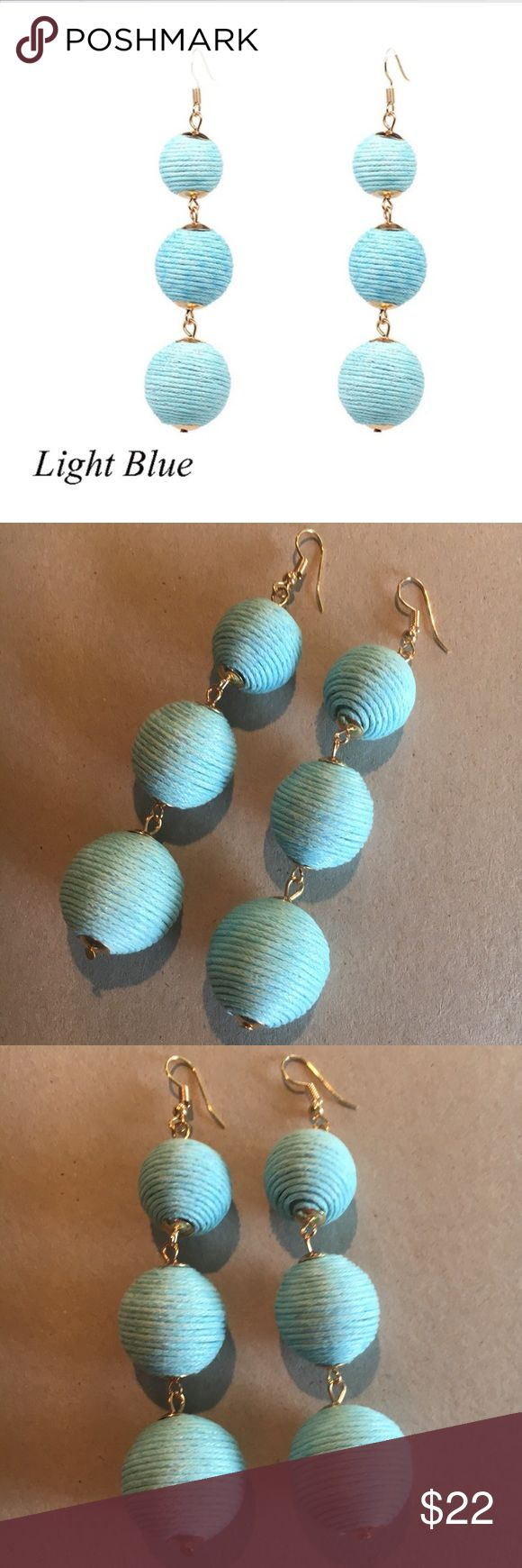 """As seen on Today w/KathiLee & Hoda PomPom earrings Fun Pom Pom thread wrapped 3 tiered ball earrings in LIGHT AQUA BLUE.  This item is a new Boutique item in original packaging but without tags.  Please review all photos and comments prior to purchasing.  Material: Gold plated alloy, Weight: 20g, Dimensions: Approx 3.75""""x.75"""" Mimi's Boutique Jewelry Earrings"""