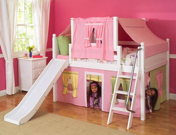 Petra's Twin Size Low Playhouse Loft Bed White | Low loft ...