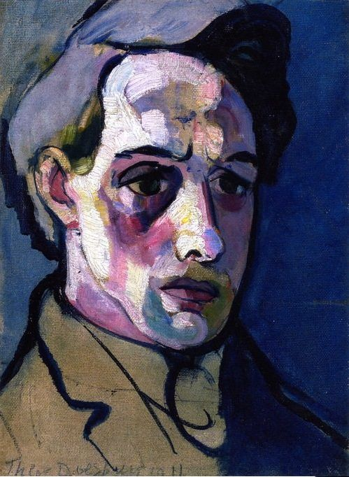 2- Theo van Doesburg (1883-1931, Dutch), 1912, Autoportrait. He moved to Weimar in 1922, deciding to make an impression on the Bauhaus principal, Walter Gropius. While Gropius accepted many of the precepts of contemporary art movements he did not feel that Doesburg should become a Bauhaus master. Doesburg then installed himself near to the Bauhaus buildings and started to attract school students interested in the new ideas of Constructivism. Dadaism, and De Stijl.