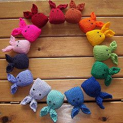 A rainbow of bunnies, filled with catnip to treat your kitty at Easter. Pattern has only the tiniest amount of seaming on the ears, otherwise it's seam free and knitting on two needles.