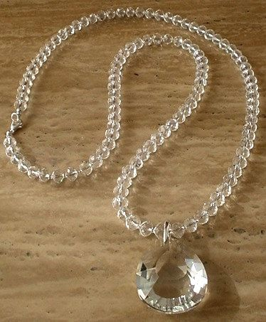 Clear Round Faceted Crystal Necklace c/w Removable by camexinc