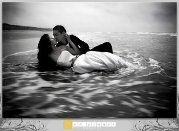 Wedding, Dress, Bride, Beach, Groom, And, The, Ocean
