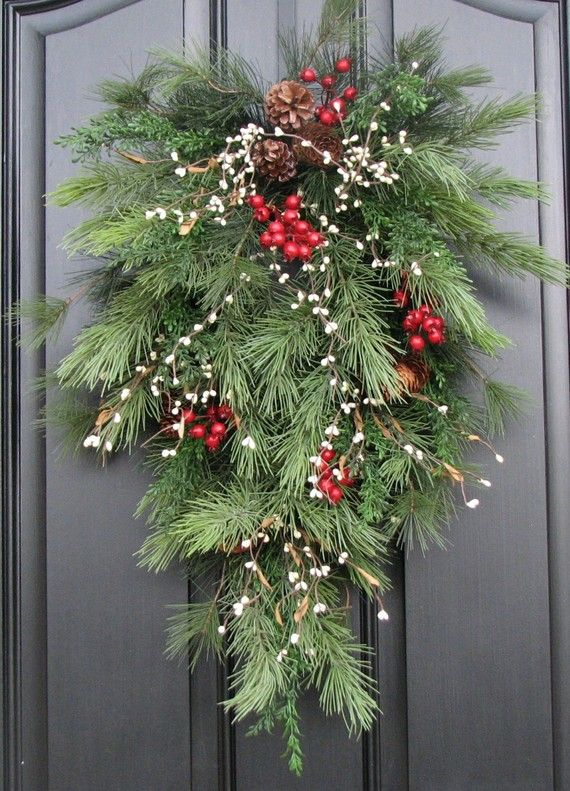 Holiday Swag Wreath - Christmas Pine, Berries and Pinecones Swag for Your Front Door. $70.00, via Etsy.