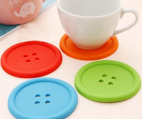 NEW! Funky Silicone Giant Button Drink Coaster - Great Gift Idea!