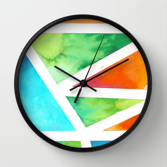 Water+Color+Triangles+Wall+Clock+by+J+Rose+-+$30.00