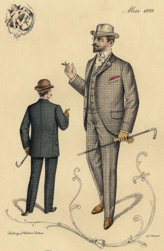 Paris 1899 Belle Epoque Fashion Men Suit Hat - Original Large lithograph