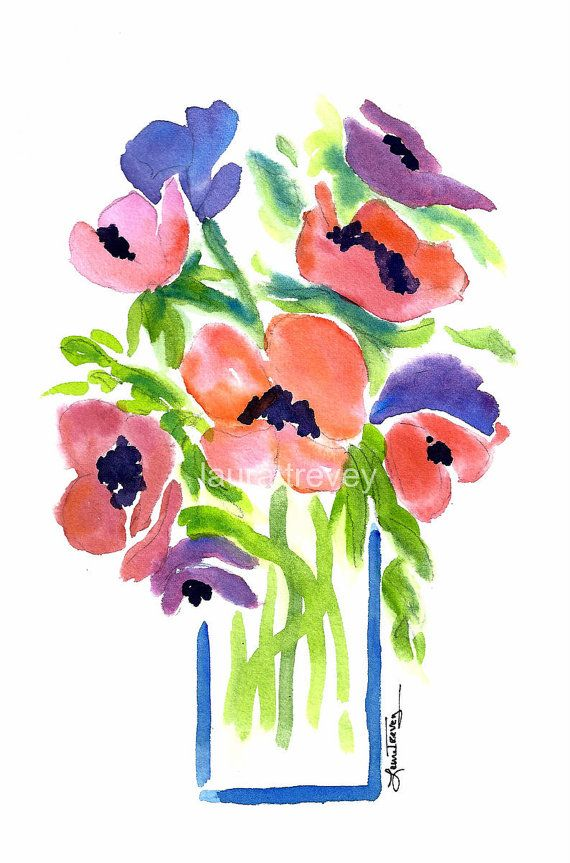 Refresh your wall space with a Flowers in Vase Watercolor Print