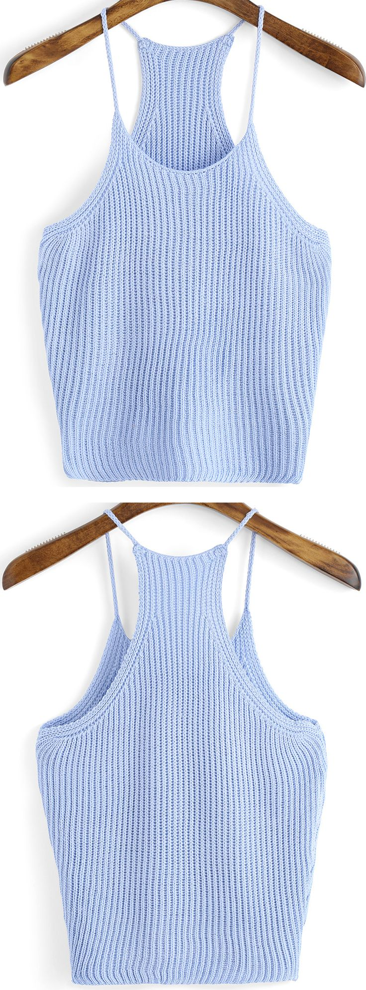 Super soft knit tank top for hot summer. Pretty light blue vest make a peace & cool summer. Best for summer street style.Find Blue Spaghetti Strap Knit Cami Top at romwe.com .