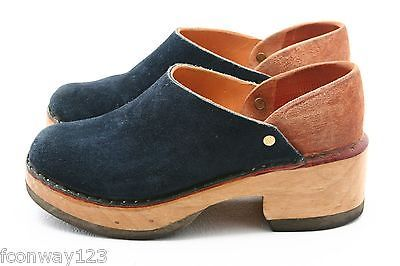 Multnomah Leather Shop Custom Stapled Clogs Wooden Portland Oregon Blue 8.5