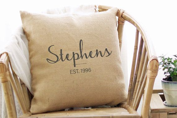 20th Wedding Anniversary Pillow Cover  by indigotangerine on Etsy