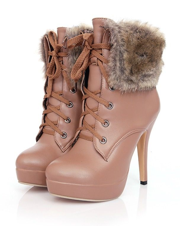 High heel platform leather boots