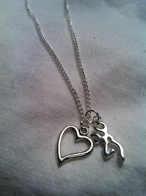 Silver Necklace Browning Necklace Hunting by ItsJustSlate on Etsy