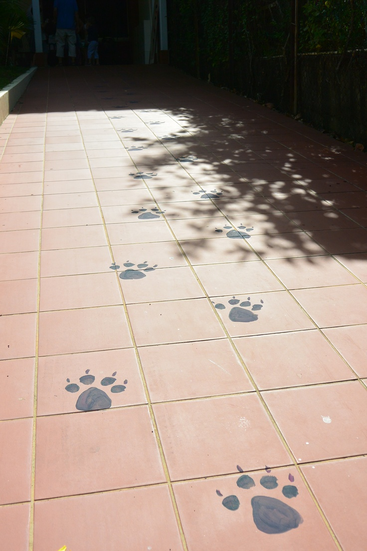 Gruffalo party: painted paw prints led to the front door