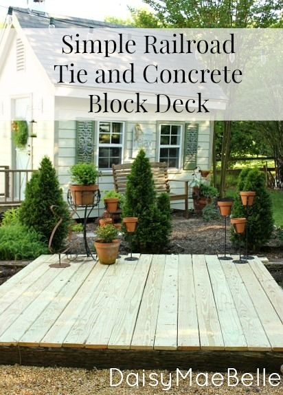 Railroad tie and concrete block deck decks backyards Floating deck cinder blocks