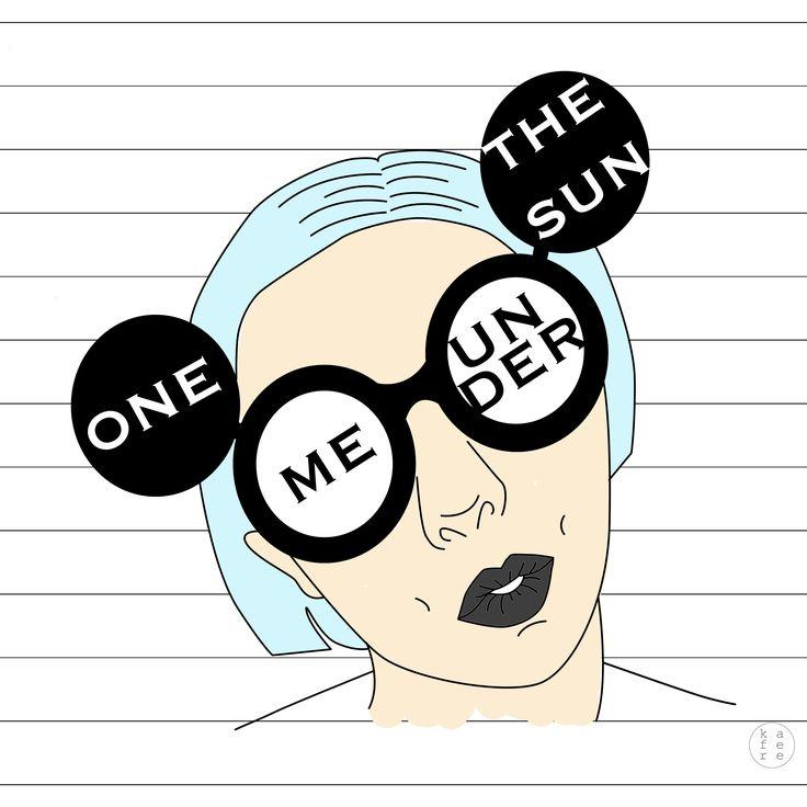 Minimalistic girl illustration / positive inspirational quote