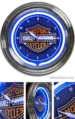 Harley Davidson Man Cave Neon Clock